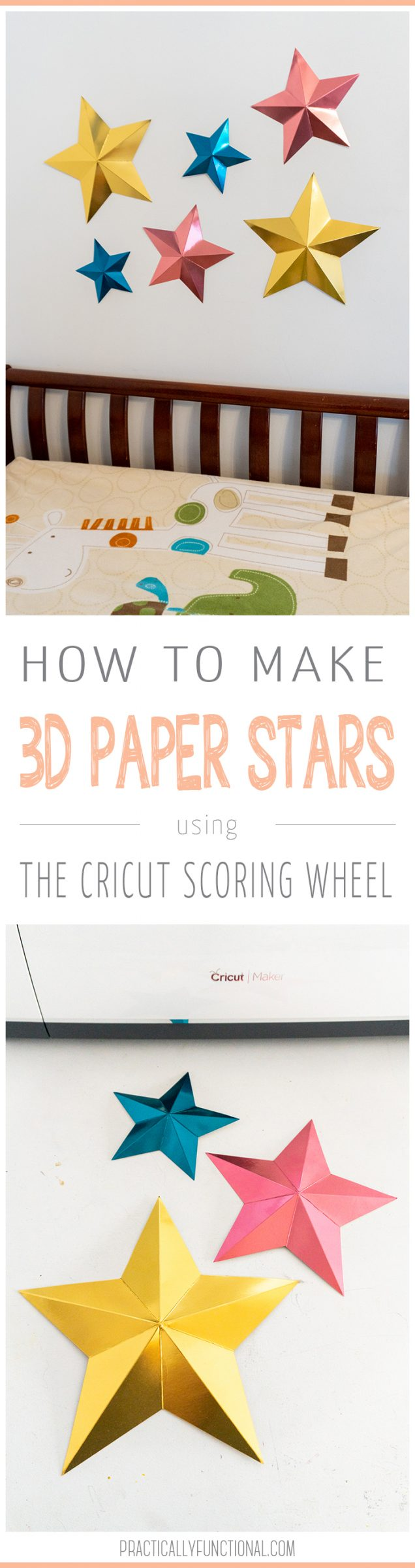 Learn how to use your Cricut scoring wheel to make these cute 3D paper stars! These make the cutest nursery mobile and are great for holiday crafts too! #cricutcrafts #cricutscoringwheel
