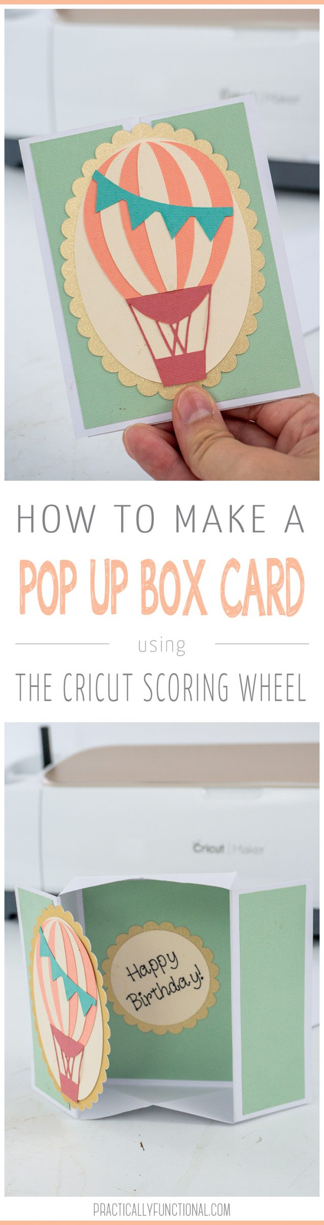Learn how to make a 3d pop up box card with the Cricut scoring wheel! This cute card folds flat to fit in a standard envelope and takes less than a half hour to complete - you'll love it! #cricutmade #cricutcraft #cricutscoringwheel