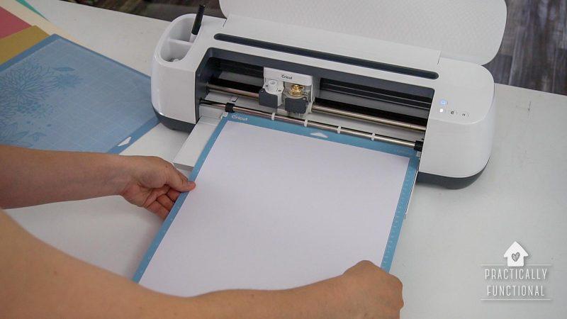 Load mat into cricut to make a 3d pop up box card