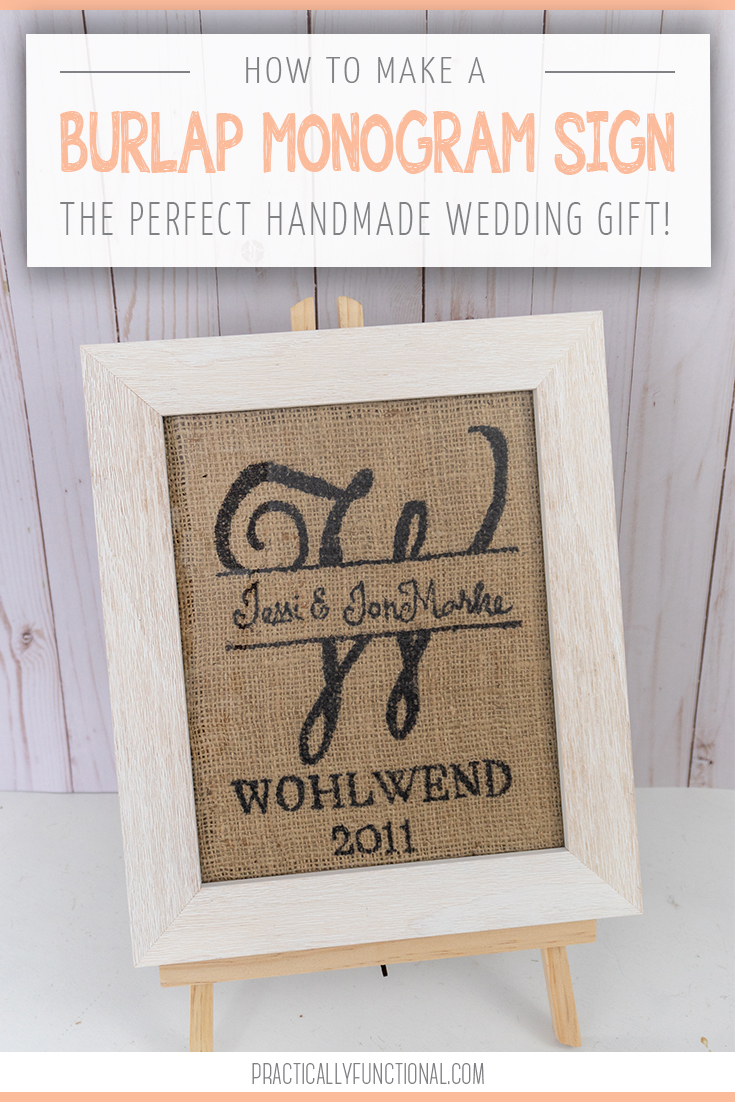 Simple diy burlap monogram sign title