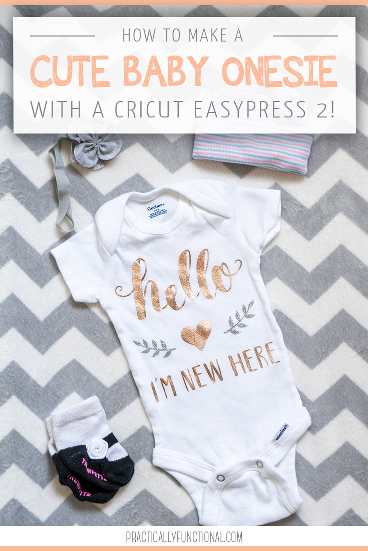 Hello im new here baby onesie with the cricut easypress 2 title