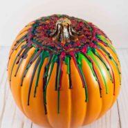 How to make a melted crayon pumpkin using a hot glue gun