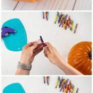 How to make a melted crayon pumpkin with a hot glue gun 3 step