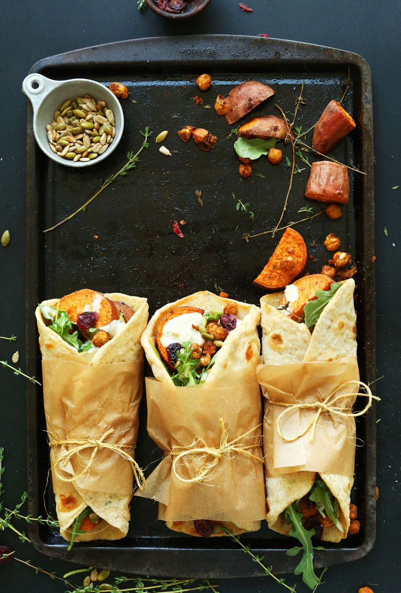 30 minute fall bounty thanksgiving wraps roasted sweet potatoes chickpeas with cranberries thyme and garlic dill sauce and 14 other thanksgiving vegetable side dishes everyone will love