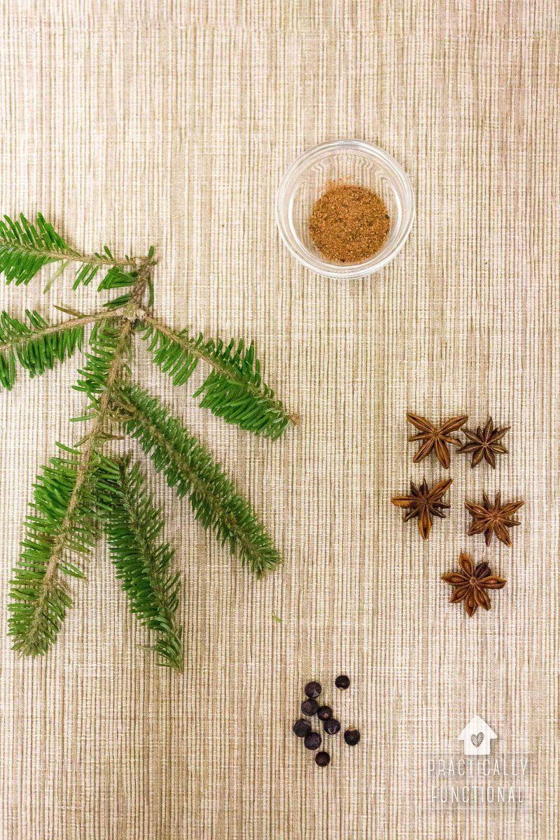 Ingredients to make christmas stove top potpourri
