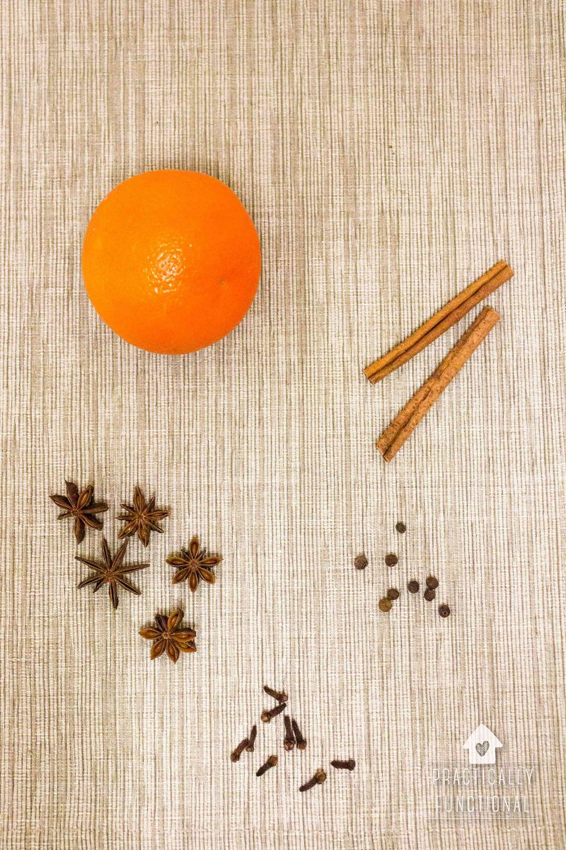 Ingredients to make fall stove top potpourri