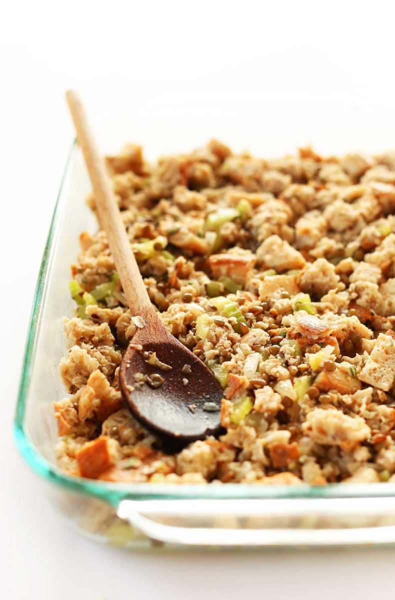 Simple vegan stuffing loaded with fiber protein and perfect for thanksgiving and 14 other thanksgiving vegetable side dishes everyone will love