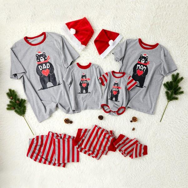 Bear with heart family matching pajamas and 19 other matching family Christmas pajamas that are warm, comfy, and totally budget-friendly!
