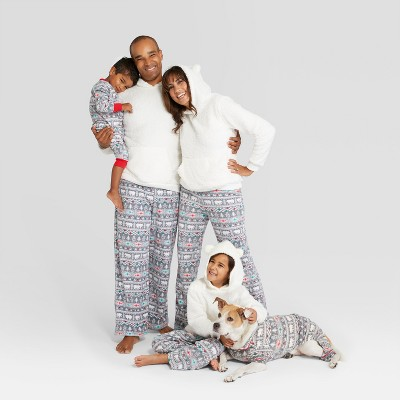 Holiday fuzzy bear fair isle family pajamas and 19 other matching family Christmas pajamas that are warm, comfy, and totally budget-friendly!