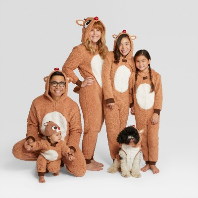 Holiday rudolph the red nosed reindeer family union suits and 19 other matching family Christmas pajamas that are warm, comfy, and totally budget-friendly!