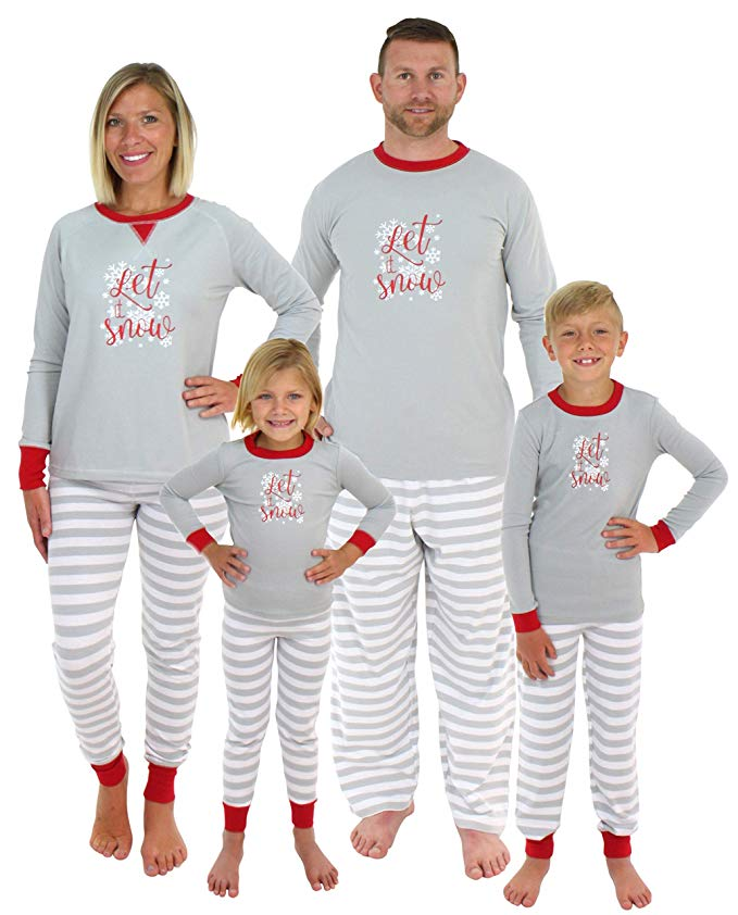 Let it snow holiday family matching pajamas and 19 other matching family Christmas pajamas that are warm, comfy, and totally budget-friendly!