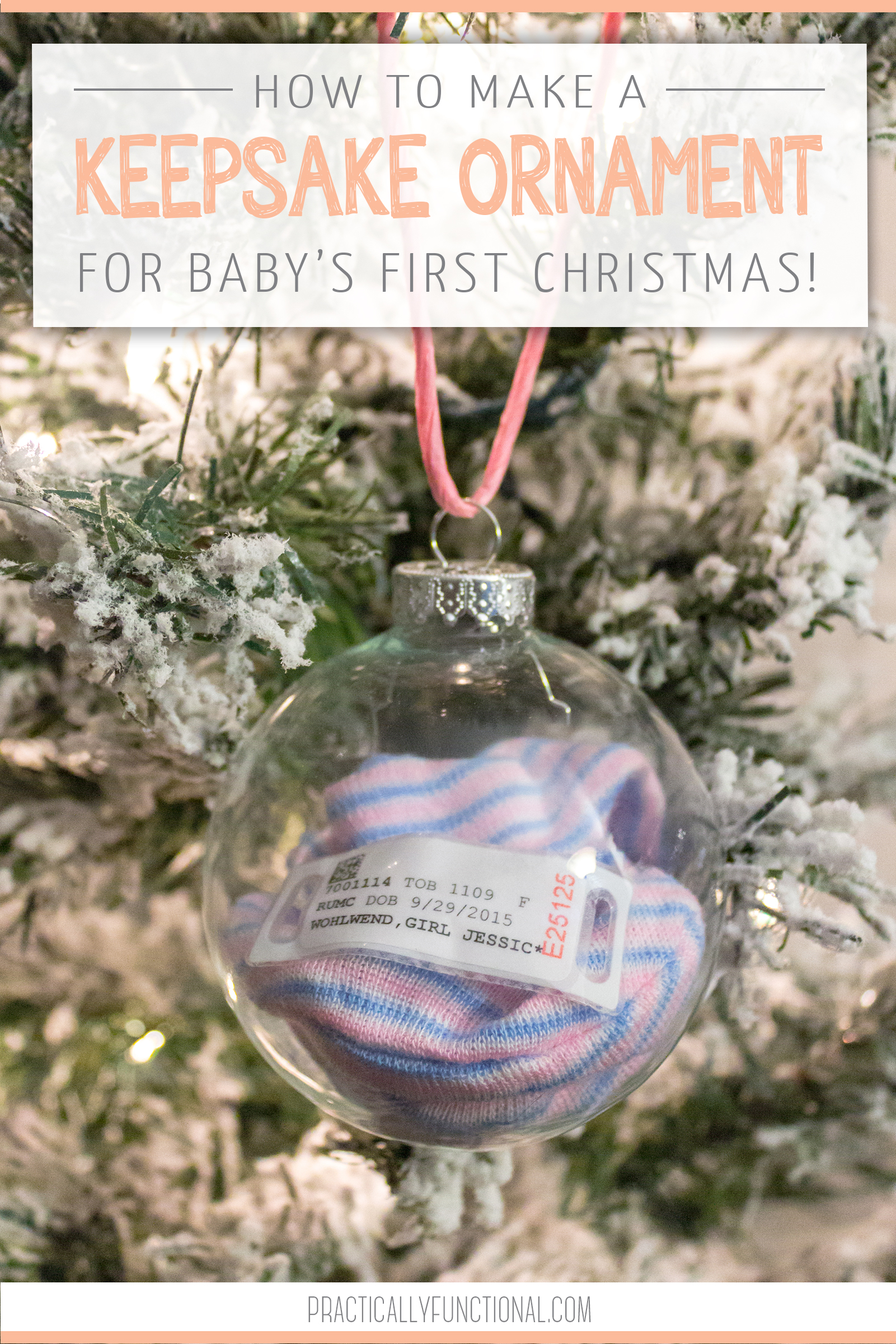 Make your babys first christmas ornament with their hat and hospital bracelet