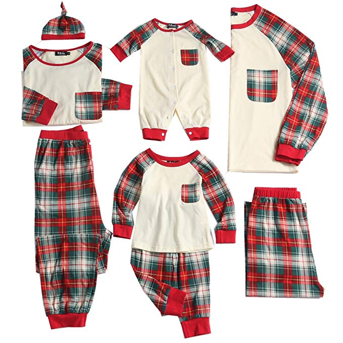 Plaid and ivory family matching christmas pajamas and 19 other matching family Christmas pajamas that are warm, comfy, and totally budget-friendly!