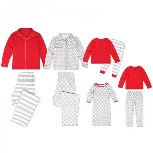 Red and grey long sleeve top and pants set family matching pajamas and 19 other matching family Christmas pajamas that are warm, comfy, and totally budget-friendly!