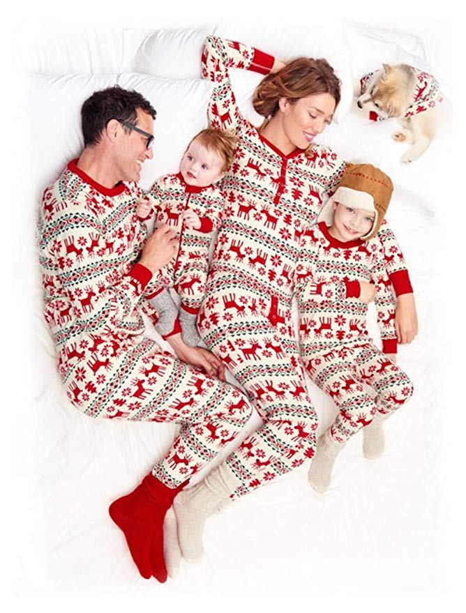 Reindeer print family christmas pajamas and 19 other matching family Christmas pajamas that are warm, comfy, and totally budget-friendly!