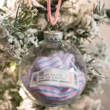 Save the hat and hospital bracelet for babys 1st christmas ornament