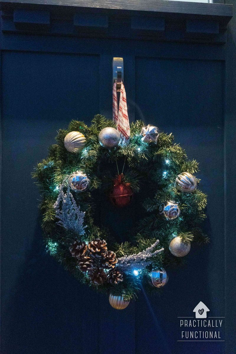 Make a battery operated light up wreath with dollar store items
