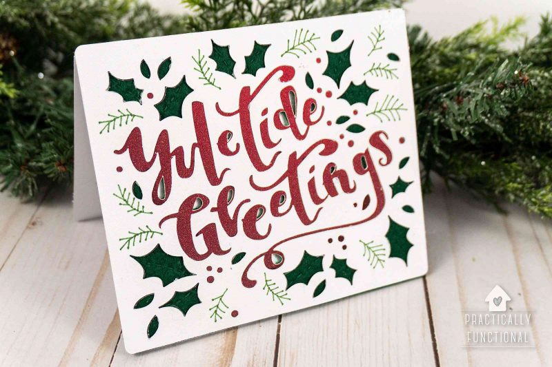 Simple yuletide greetings card made in 10 minutes with a cricut maker
