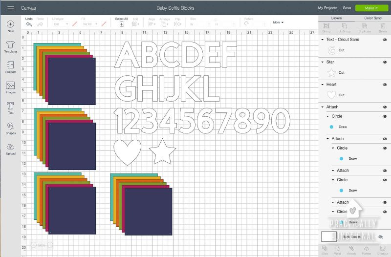 Cricut design space project for making soft baby blocks
