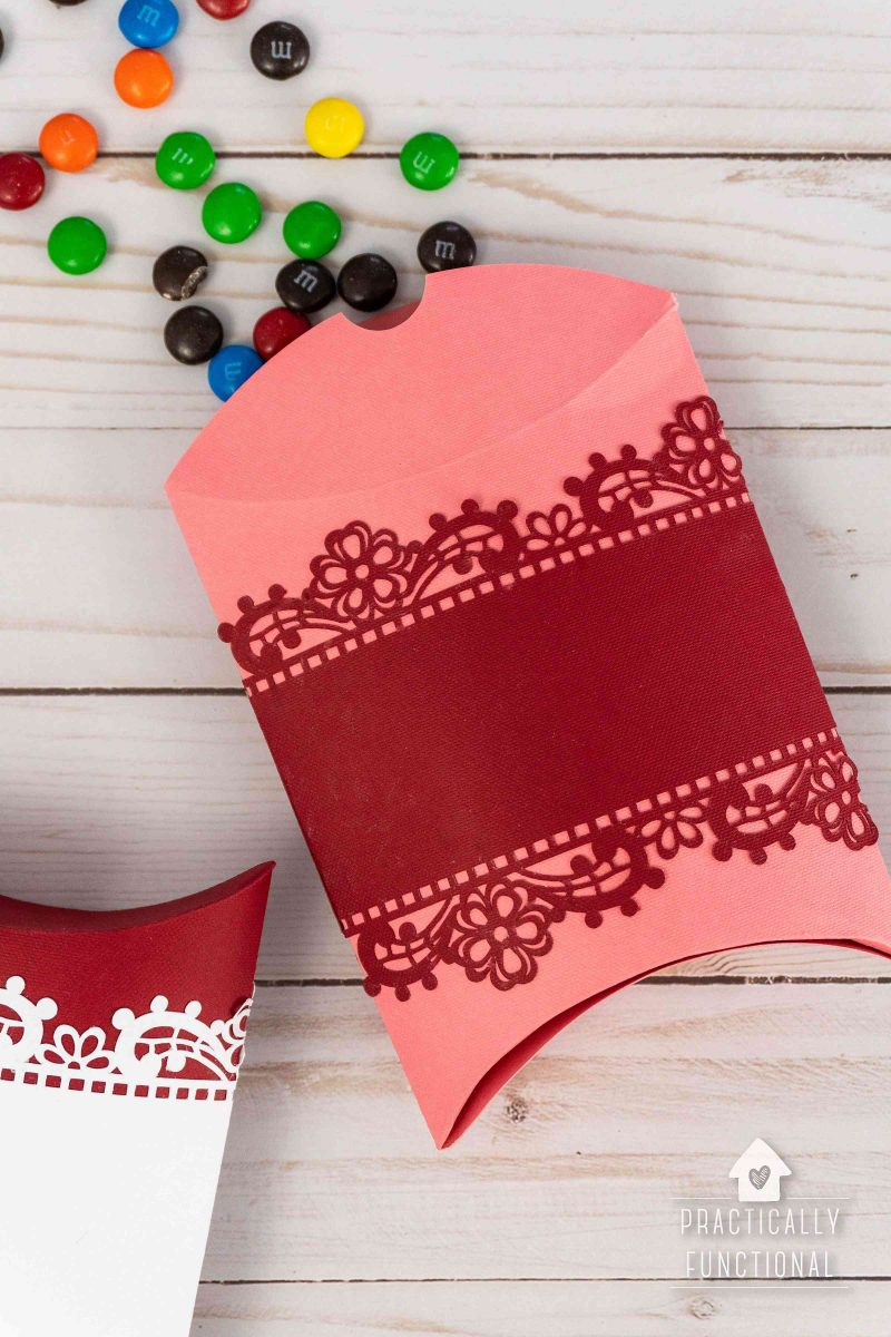 Learn how to make a pillow box with a cricut maker plus a free pillow box template