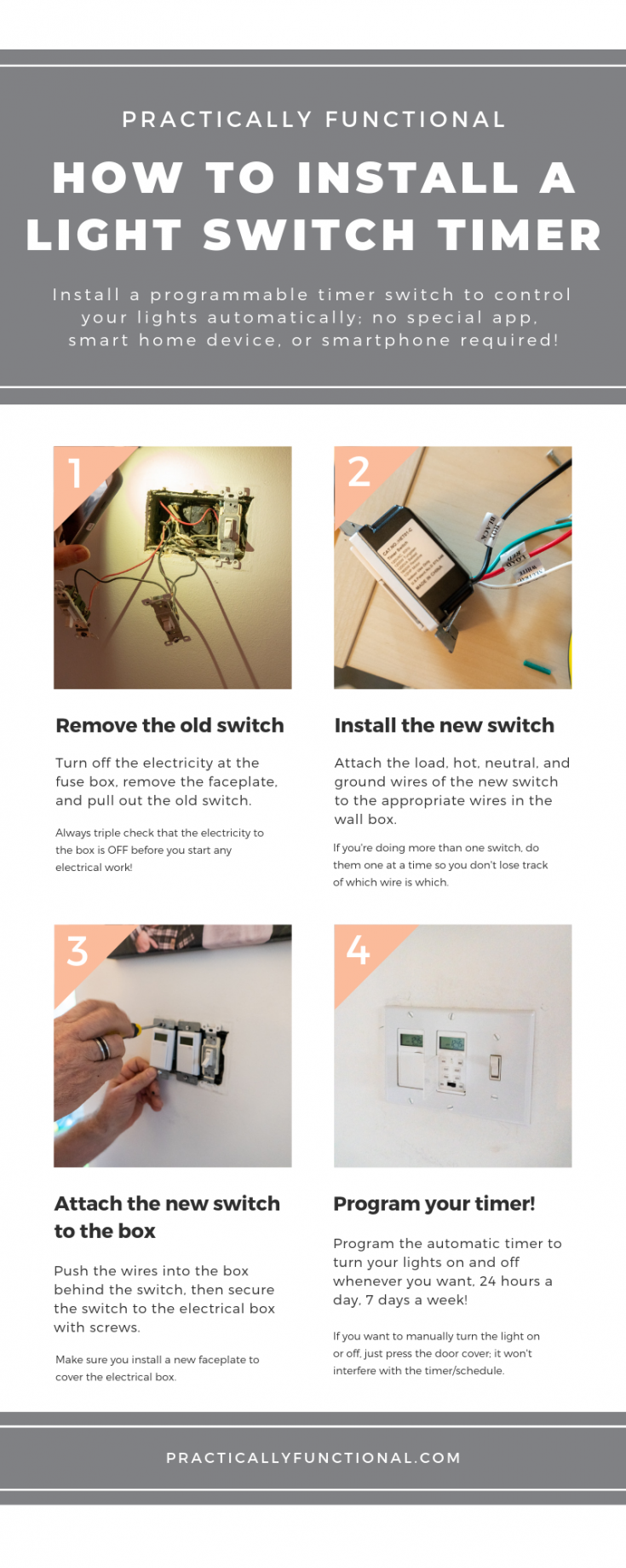Learn how to replace a regular light switch will a programmable timer switch so you can control your lights automatically! No special app, smart home device, or smartphone required! #simplediy #automaticlights