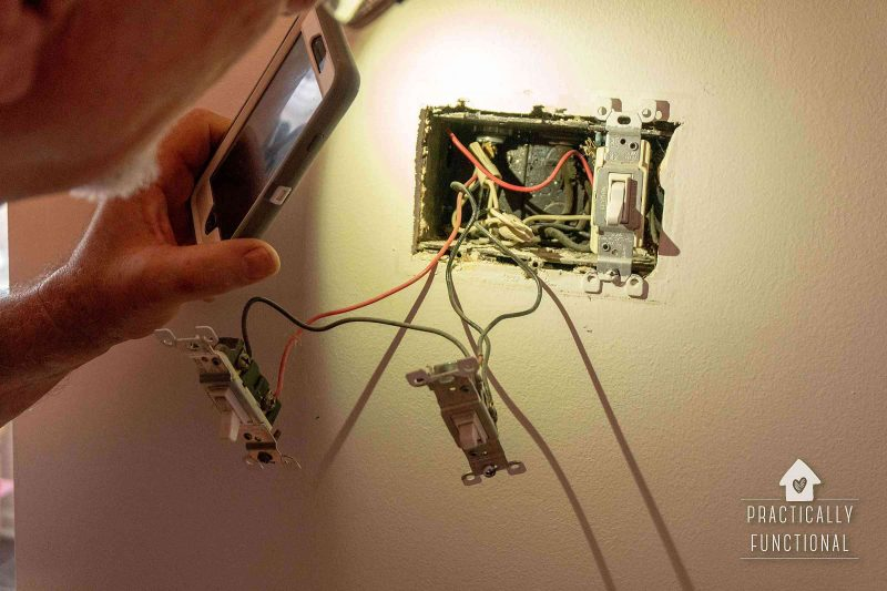 Remove old faceplate and wall switches to replace them with a programmable timer switch