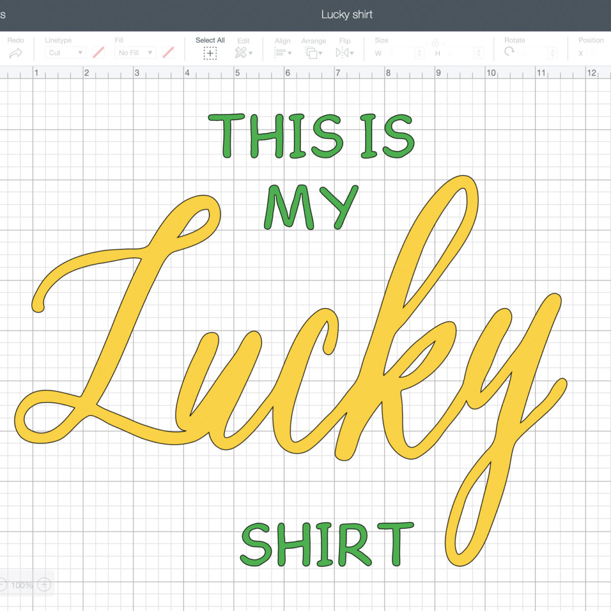 This is my lucky shirt cricut design space project