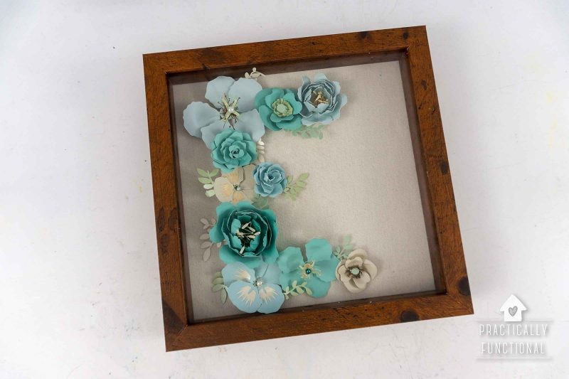 Diy paper flower monogram letter inside a shadow box