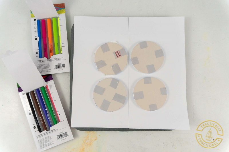 Ceramic coasters with cricut infusible ink pens and markers ready to press with easypress