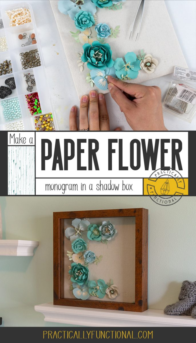 Paper flower monogram in a shadow box