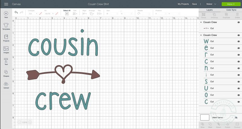 Click green make it button to send your design to your cricut for cutting