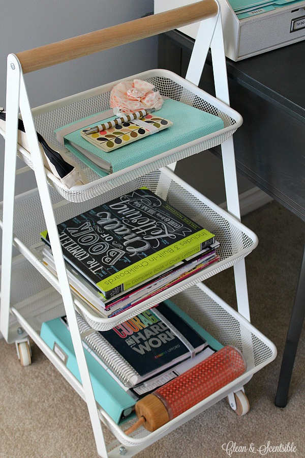 Use a rolling cart to add storage next to a small desk