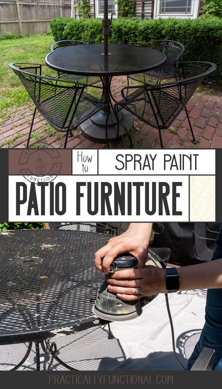 Spray paint your patio furniture to give it a brand new look! Learn how to easily fix rust spots and peeling paint for an outdoor furniture makeover in just 2 hours!