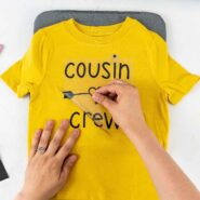Peel away clear transfer sheet from heat transfer vinyl after pressing with cricut easypress