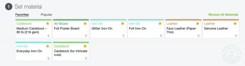Select everyday iron on when cutting heat transfer vinyl with a cricut