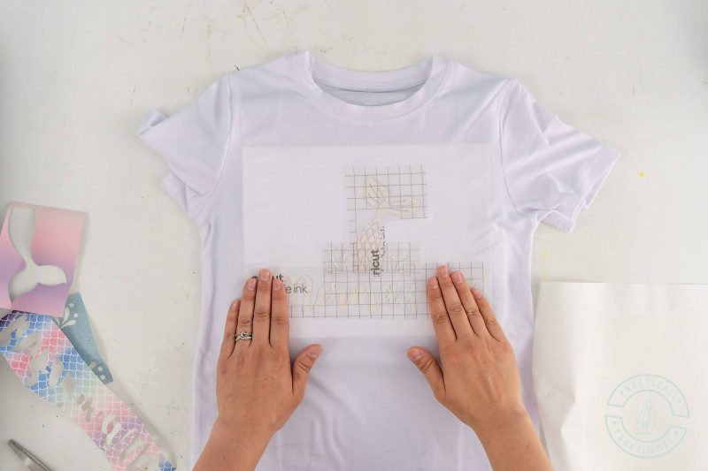 Use the slice and set method to combine multiple layers of infusible ink transfer sheets onto one liner