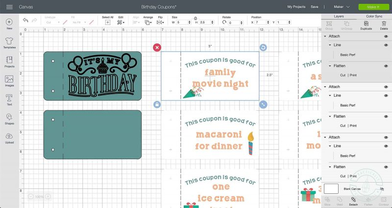 Attach a perforation line to make a tear out birthday coupon book using a cricut maker