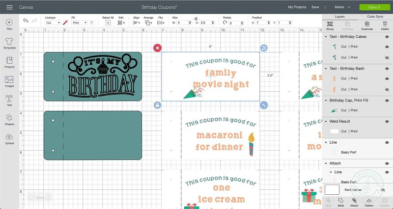 Flatten all text and white background shapes to make birthday coupons in cricut design space