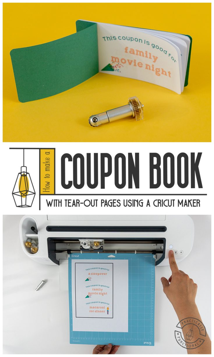 Learn how to make a birthday coupon book with a Cricut Maker. Personalize the coupons with your own text, then customize the cover with the fine debossing tip and use the basic perforation blade to make easy tear-out pages!