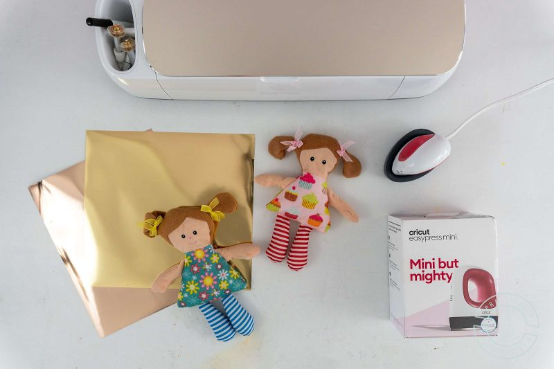 Materials needed for making personalized stuffed dolls with a cricut easypress mini