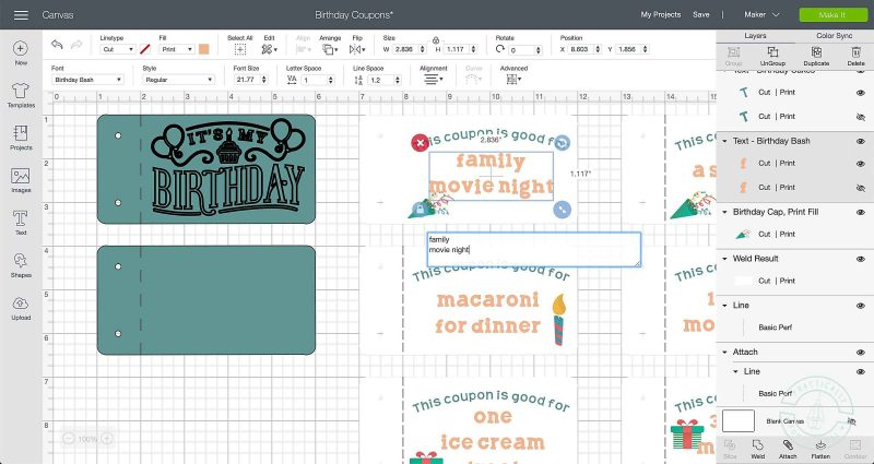 Personalize the coupon text inside of cricut design space