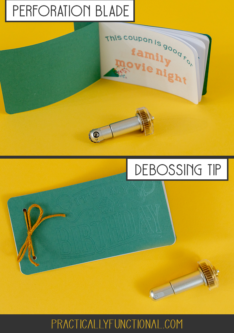 Using the cricut maker perforation blade and debossing tip to make a birthday coupon book
