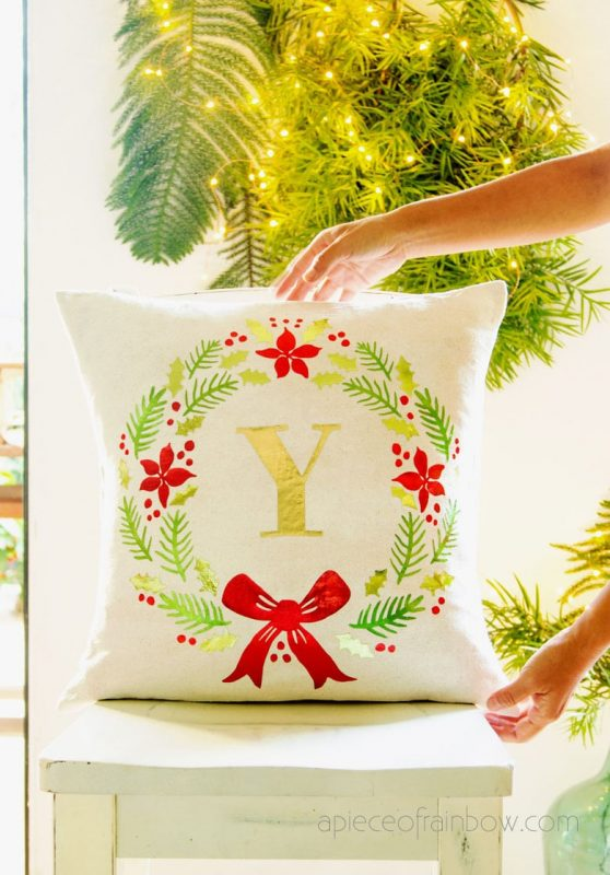 Diy monogrammed christmas pillow cover