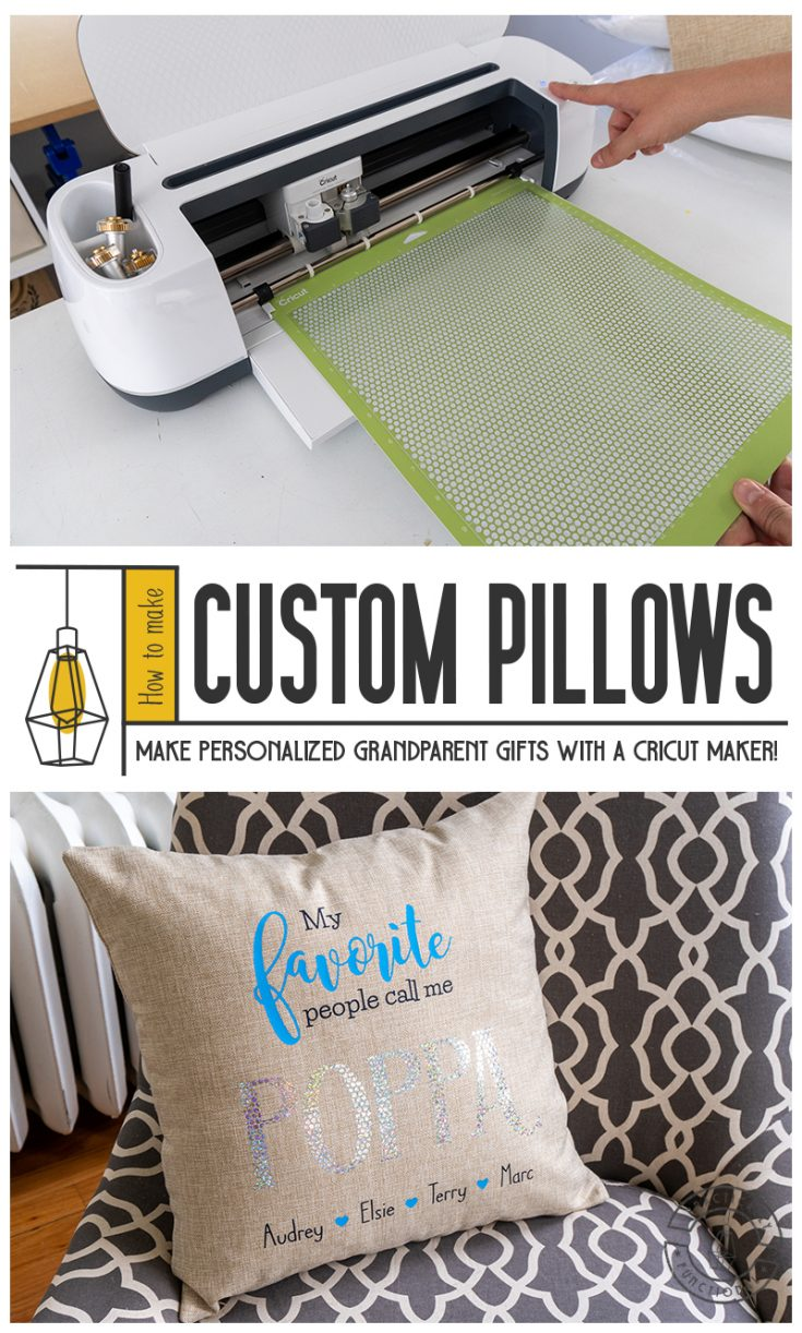Customize a cute pillow with their grandparent name to make the perfect personalized gift for grandparents! It's easy to make with a Cricut Maker and some iron on!