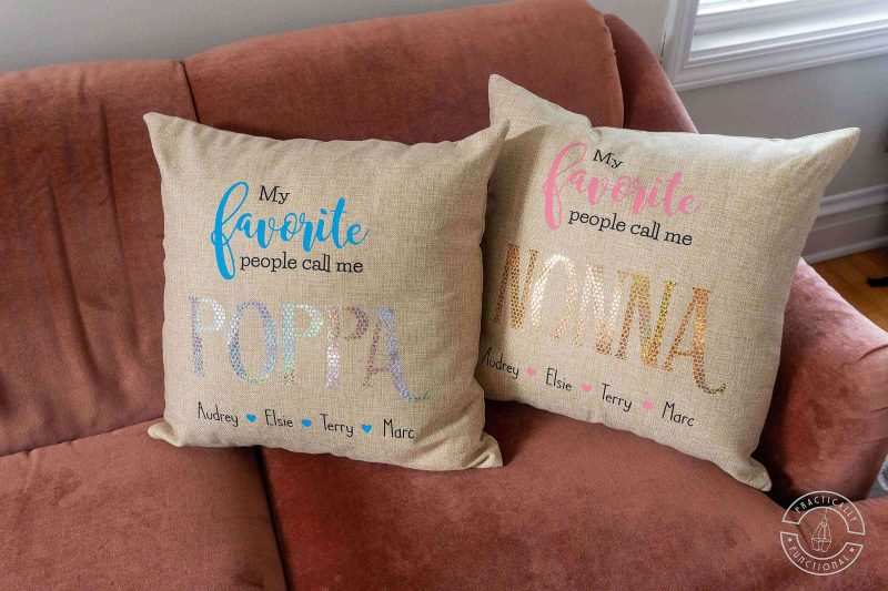 Learn how to make personalized grandparent pillows with a cricut maker