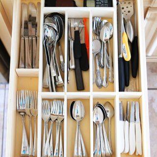 Custom wood diy kitchen utensil drawer organizer