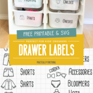 Free printable dresser drawer labels and free svg file for ikea trofast bins