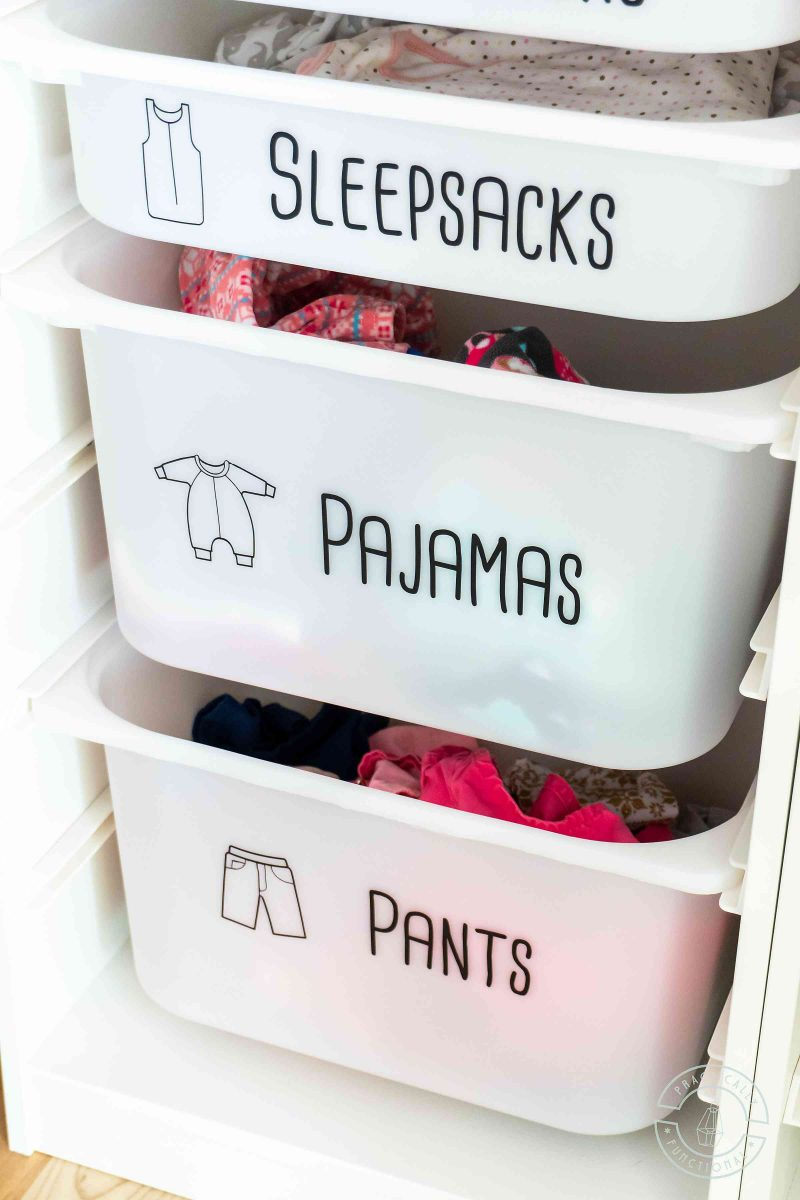 Free printable dresser drawer labels for toddlers on ikea trofast bins