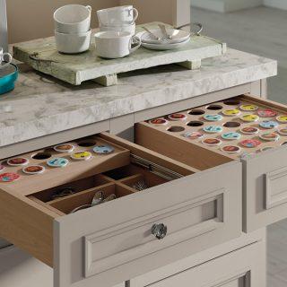 K cup storage drawer for kitchen