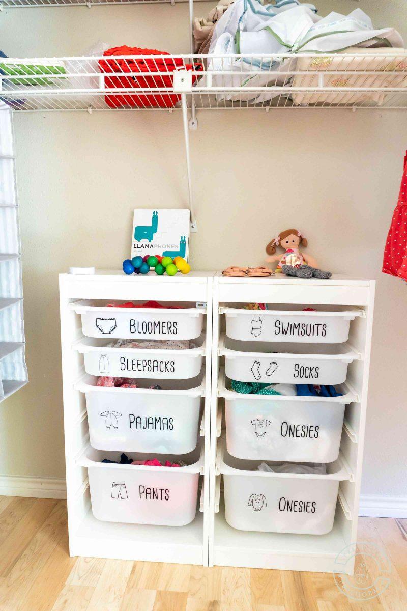 Kids clothing dresser drawer labels for ikea trofast bins